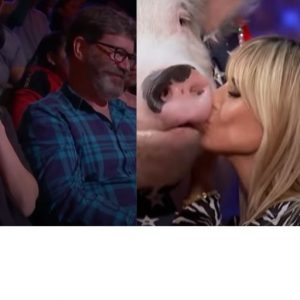 "VIDEO Heidi Klum sărută un porc la ""America's Got Talent"""